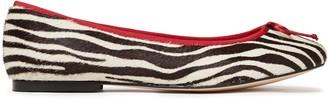 French Sole Lola Bow-embellished Zebra-print Calf Hair Ballet Flats