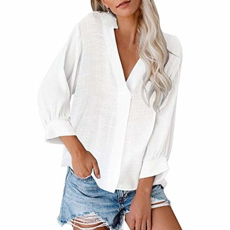 Kalorywee Women Tops KaloryWee White Shirt for Women Long Sleeve Flared Sleeve Womens Casual V Neck Cuffed Loose Shirt Blouse Tops