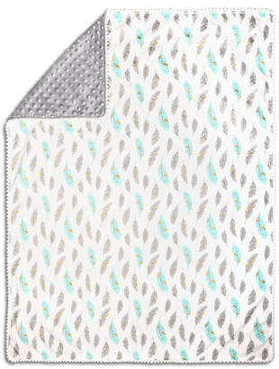 The Peanut Shell The Grey & Mint Feather Pompom Blanket Bedding