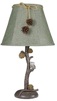 "Millwood Pines Rockdale Pine Branch with Owl 24"" Table Lamp Millwood Pines"