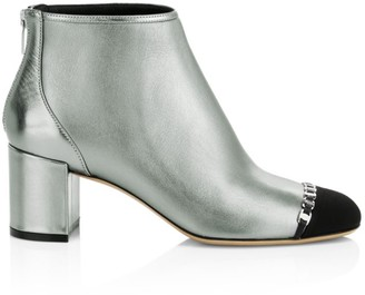 Salvatore Ferragamo Atri 2 Cap-Toe Metallic Leather Ankle Boots