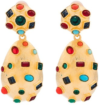 Kenneth Jay Lane Gold-Tone Crystal-Embellished Clip Earrings