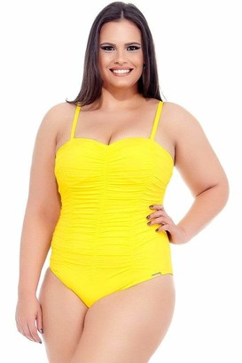 Lehona Sunflower Draped Swimsuit w/ Padded & Wired Cups in Yellow Size 16