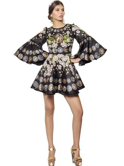 Dolce & Gabbana Silk Organza Flowers And Coins Dress
