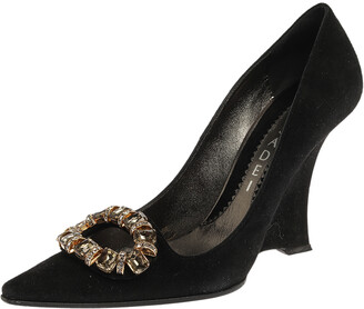 Casadei Black Suede Crystal Embellished Pointed Toe Wedge Pumps Size 36