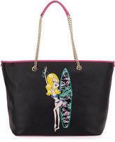 Love Moschino Saffiano Faux-Leather Shoulder Bag, Black