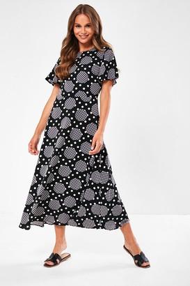 Iclothing Quinn Spot Print Midaxi Dress in Black