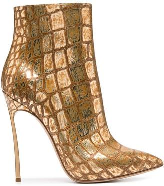 Casadei Gold Crocodile Texture Stiletto Boots