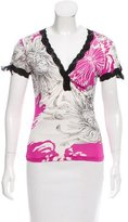 Roberto Cavalli Printed Lace-Trimmed Top
