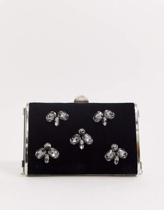 True Decadence clutch bag in velvet with beading embellishment-Black