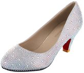 VELCANS Women's Silver Glitzy Rhinestone Wedding and Prom Heels Pumps Shoes