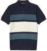 Michael Kors Slim-fit Striped Knitted Cotton Polo Shirt