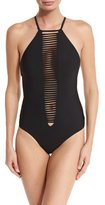 Red Carter Splice & Dice Strappy High-Neck One-Piece Swimsuit, Black