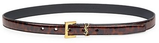 Saint Laurent Logo Leopard-Print Patent Leather Belt