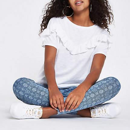 River Island Womens White frill bib short sleeve T-shirt