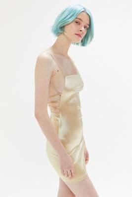 Motel Kozue Satin Tie-Back Mini Dress - yellow M at Urban Outfitters