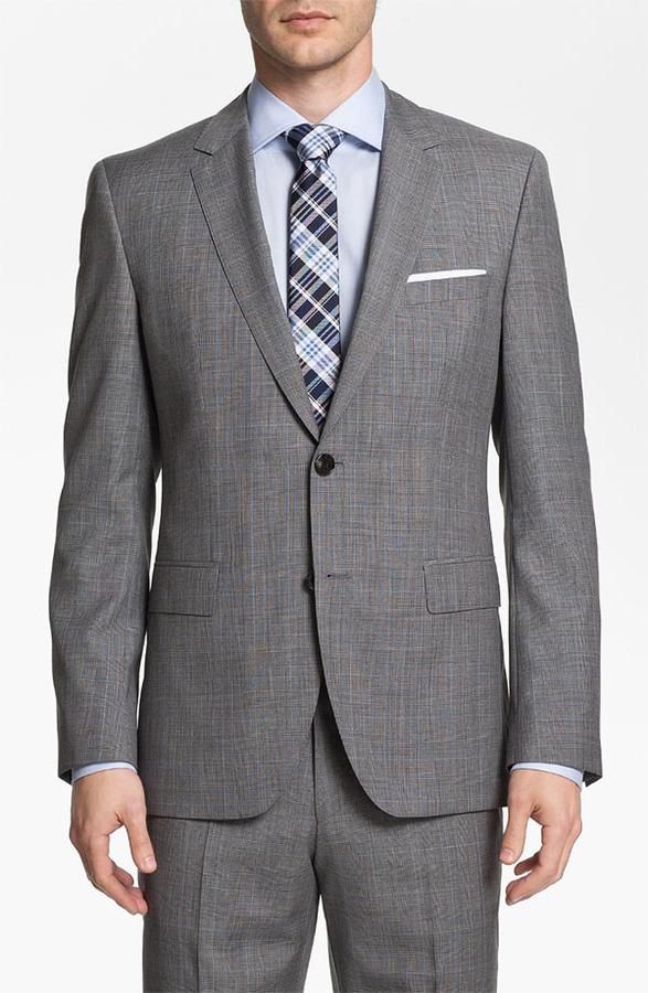 Boss Black 'James/Sharp' Trim Fit Plaid Suit Grey Plaid 40L