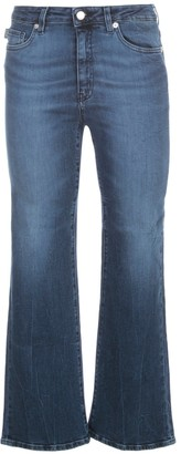 Love Moschino Logo Plaque Cropped Flared Jeans