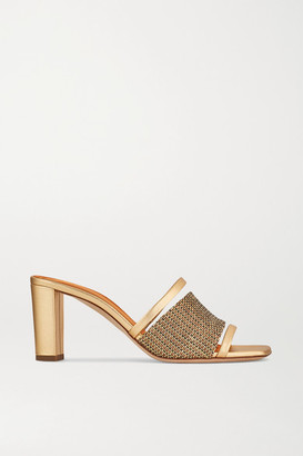 Malone Souliers Demi 70 Leather-trimmed Lurex Mules - Gold