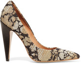 M Missoni Leather and metallic crochet-knit pumps