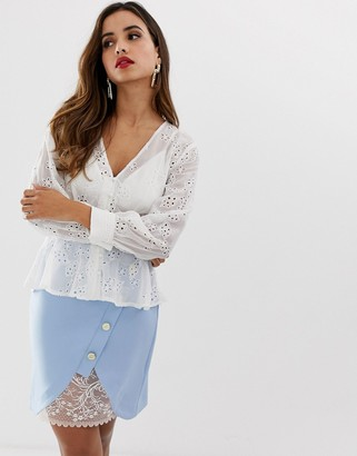 Lipsy broderie anglaise blouse in cream