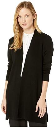 Eileen Fisher Ultrafine Merino Straight Long Cardigan (Black) Women's Clothing