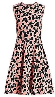 Akris Punto Women's Luna Dot Print Knit Fit-&-Flare Dress