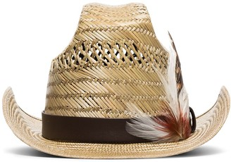 Saint Laurent feather-embellished straw trilby hat