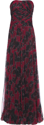 Halston Strapless Pleated Floral-print Mesh Gown