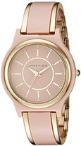 Anne Klein Women's AK/2344PKGB Swarovski Crystal Accented Gold-Tone and Blush Pink Bangle Watch