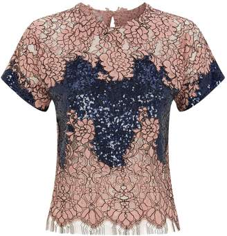 Costarellos Sequins and Lace Top