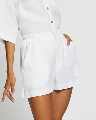 AERE - Women's White High-Waisted - Button Through Linen Lounge Shorts - Size 6 at The Iconic