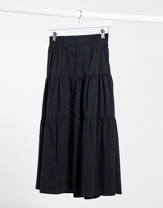 Stradivarius tiered midi skirt in black