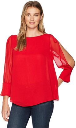 Ellen Tracy Women's Boatneck Blouse with Slit Sleeves