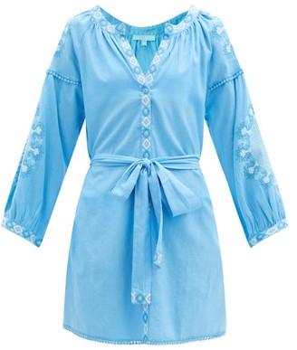 Melissa Odabash Cathy Embroidered Belted Cotton-blend Dress - Blue