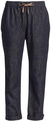 Brunello Cucinelli Monili Denim Drawstring Cargo Pants