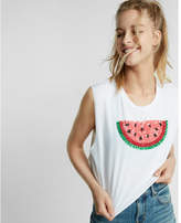 Express sequin watermelon cropped muscle tank