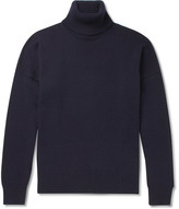 Ami Oversized Merino Wool And Cashmere-blend Rollneck Sweater - Navy