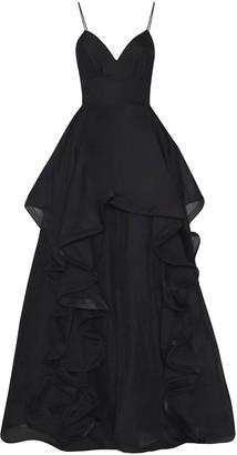True Decadence Black Ruffled Layered Gown