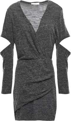 IRO Cutout Wrap-effect Melange Jersey Mini Dress