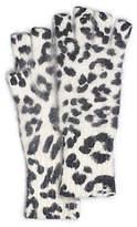 Michael Kors Leopard-Print Angora-Blend Fingerless Gloves