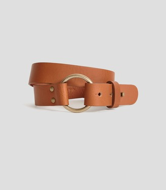 Reiss Carrie - Leather Strap Belt in Tan