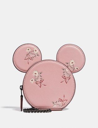 Coach Disney X Minnie Mouse Coin Case With Floral Print