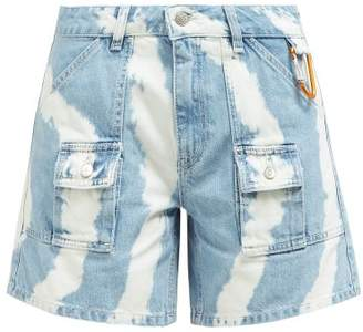 Ganni Blackstone Bleached Denim Shorts - Womens - Denim