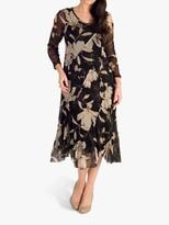 Chesca chesca Floral Panel Mesh Dress, Black/Multi