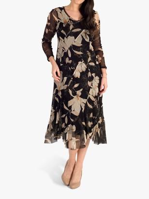Chesca Floral Panel Mesh Dress, Black/Multi