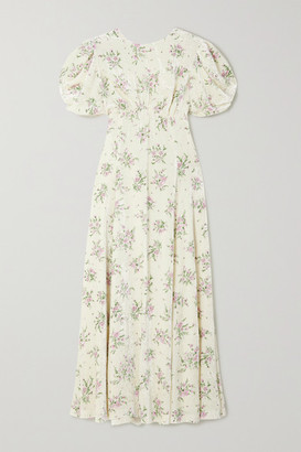 Miu Miu Open-back Crystal-embellished Floral-print Velvet Midi Dress - Cream