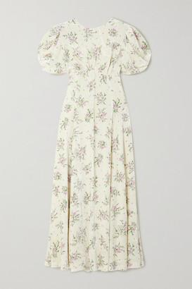 Miu Miu Open-back Crystal-embellished Floral-print Velvet Midi Dress - Cream