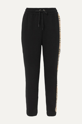 Burberry Checked Paneled Cotton-jersey Track Pants - Black