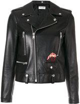 Saint Laurent flamingo embroidered biker jacket
